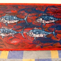 Mar rojo con atunes (Red sea with tuna fishes), a painting by Armando Flores Guerrero