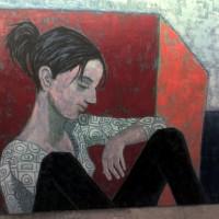 Mujer joven con cubo rojo, a painting by Armando Flores Guerrero