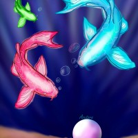 Neon Fish, a print by Asutora