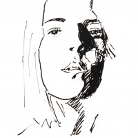 Visage 2, a drawing by Dominique Dève
