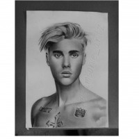 Drawing of Justin Bieber, a drawing by elsamsonieartz