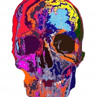 color skull 001, a print by kunpei yamanashi