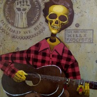 Woody Guthrie Calavera , a painting by mikekimart