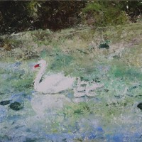 Swan Lake, a painting by Namitayp