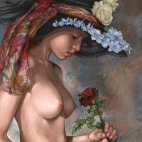Girl wit a rose, a painting by Ovi