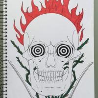 Flaming Skull, a drawing by Real.ity_Art