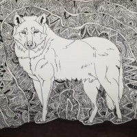 Tribal Wolf, a drawing by Real.ity_Art