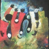 Let's dance, a painting by William Ngendandumwe