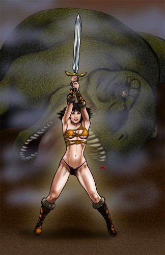 Dino Warrior, a drawing by Art of Dan DeMille
