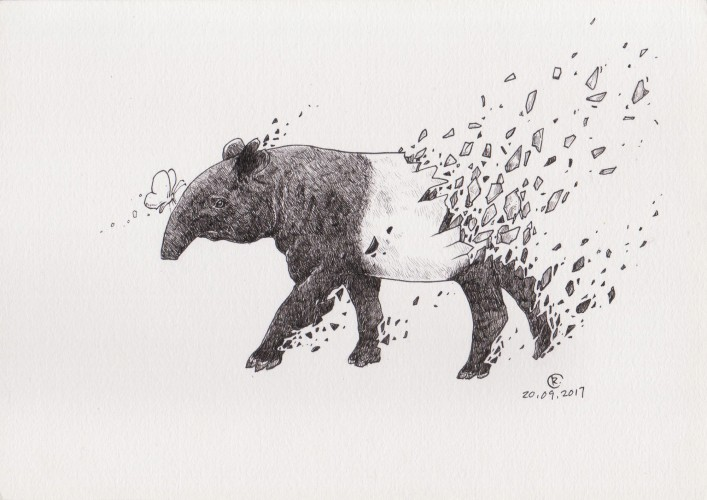 Shattered Series: Malayan Tapir, a drawing by Art of Rizal