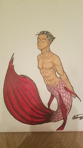 Merman, a drawing by art_le_fabu