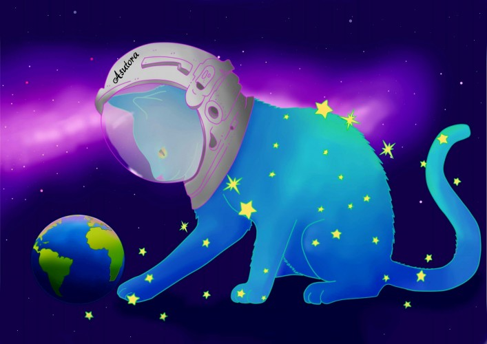 Space cat, a print by Asutora