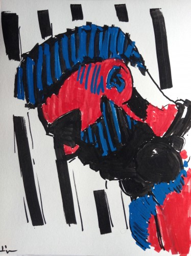 Exp with markers, a drawing by Dominique Dève