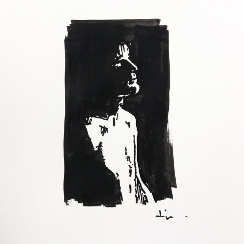Man in Black, a drawing by Dominique Dève