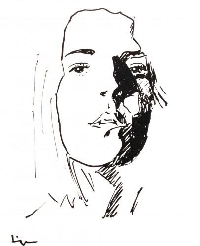 Visage 2, a drawing by Dominique Dève