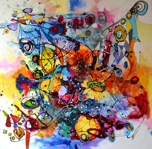 """Abstract"""" Ploaie cu cantec"""", a painting by elly6402"""