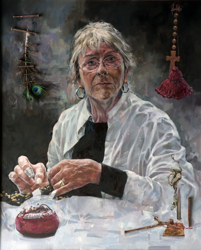 Artist Interrupted: Portrait of Rozanne Hawksley, a painting by Glenn Ibbitson