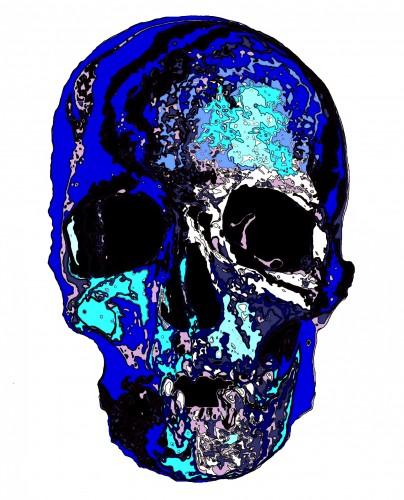 blue skull, a print by kunpei yamanashi