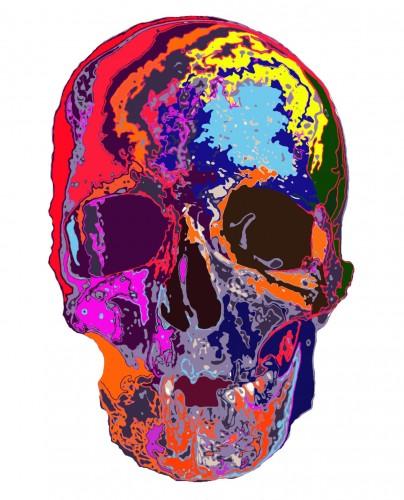 color skull 001, a print by kunpei yamanashi