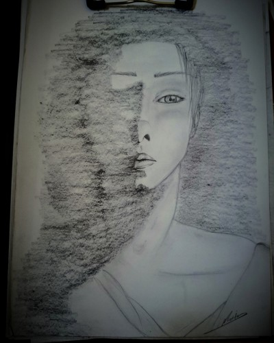 Birth from shadows, a drawing by Marim