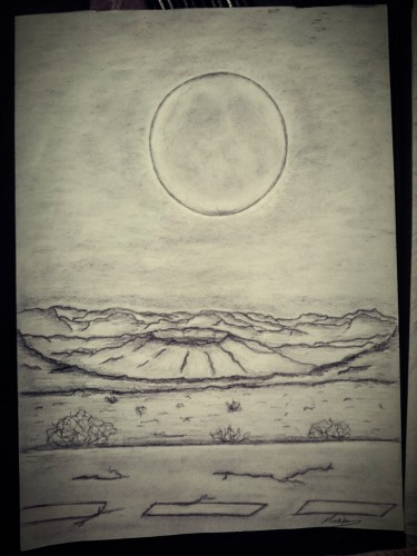 crust of desert, a drawing by Marim