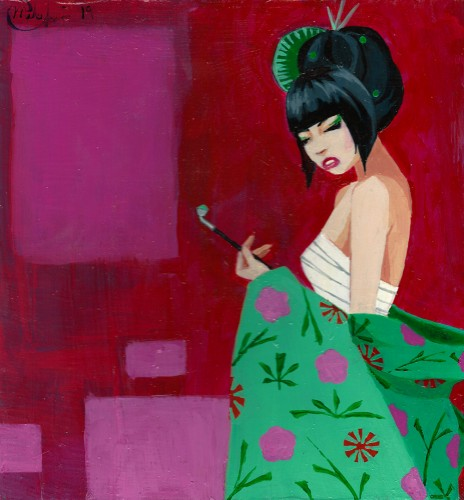 Geisha Muse, a painting by mikekimart