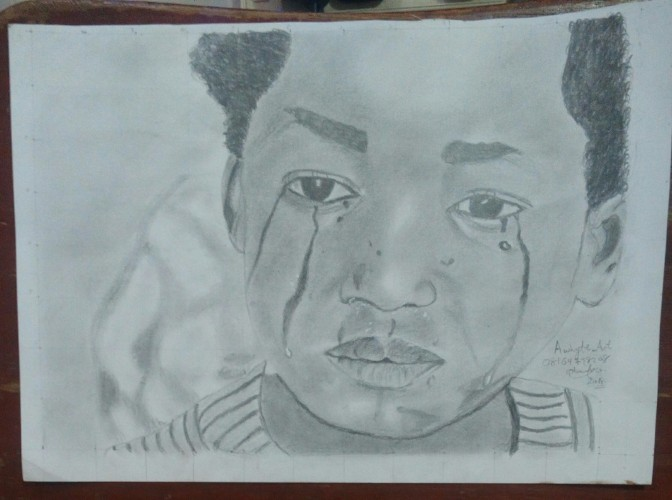 Child Abuse, a drawing by Olowoyo Ayomide Ezekiel