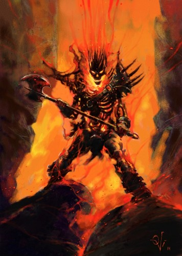Fire Demon, a painting by Ovi