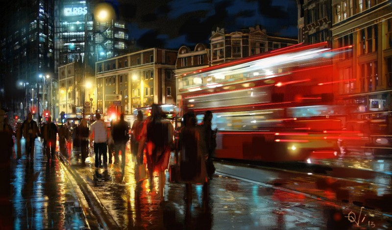London at Night, a painting by Ovi