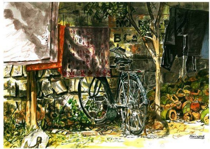 Bike, a painting by parthiban