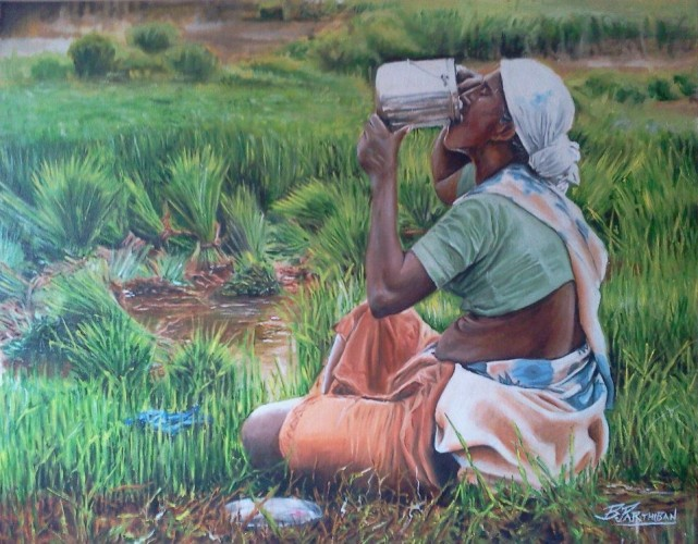 Hunger, a painting by parthiban