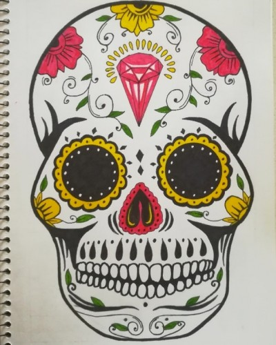 Day of the Dead Skull, a drawing by Real.ity_Art