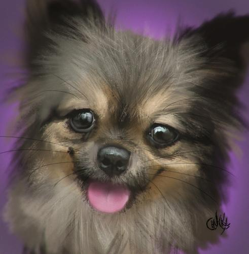 Dog portrait 2, a painting by riccardochucky