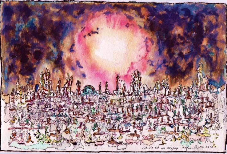 La vie est un voyage, a drawing by Stéphane Rossi