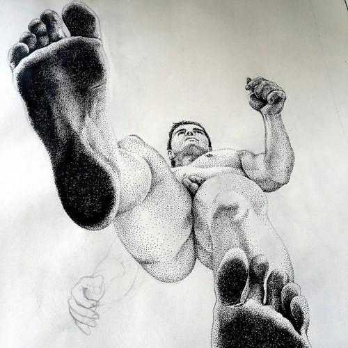 Tamaho Walking, a drawing by willbarcellos