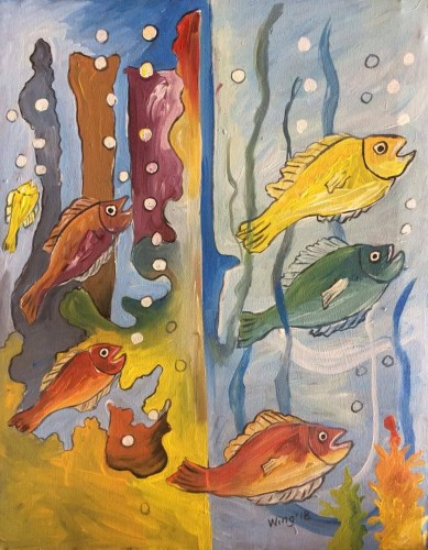 Jubilating fishes, a painting by William Ngendandumwe