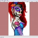 WIP [Sugar Skull Sweetheart], a drawing by Abi Normal
