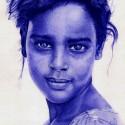 Girl in desert, a drawing by Issam Rassam