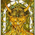 Design for 'Horned God' Art Card 2, a drawing by MarkAAA