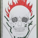 Flaming Skull, a drawing by Real.ity_Art