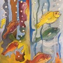 Jubilating fishes, a painting by William Ngendandumwe