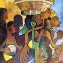 To the market place, a painting by William Ngendandumwe