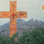 Cross and Cerro de La Silla, a painting by AFGuerrerro