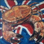 Cracking Crab, a painting by jon_woolfenden
